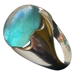Cabochon Green Apatite Sterling Silver Ring