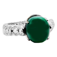 Cabochon Green Jade Eternity Platinum Diamond Ring