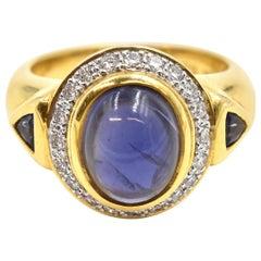 Cabochon Iolite and Diamond Ring 18 Karat Yellow Gold