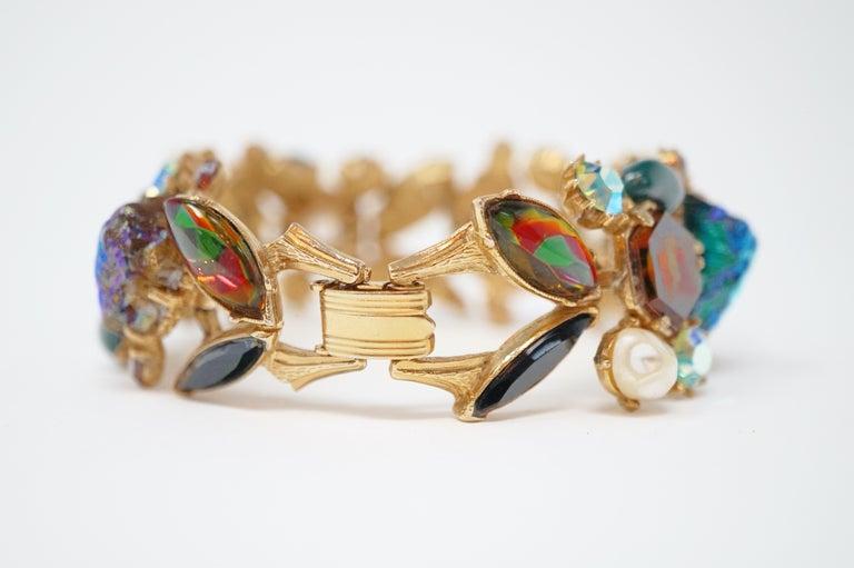 Cabochon Medley Statement Bracelet by Florenza, Signed, circa 1960 For Sale 5