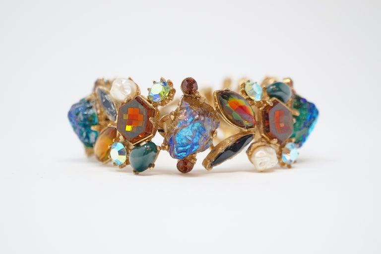 Cabochon Medley Statement Bracelet by Florenza, Signed, circa 1960 For Sale 1