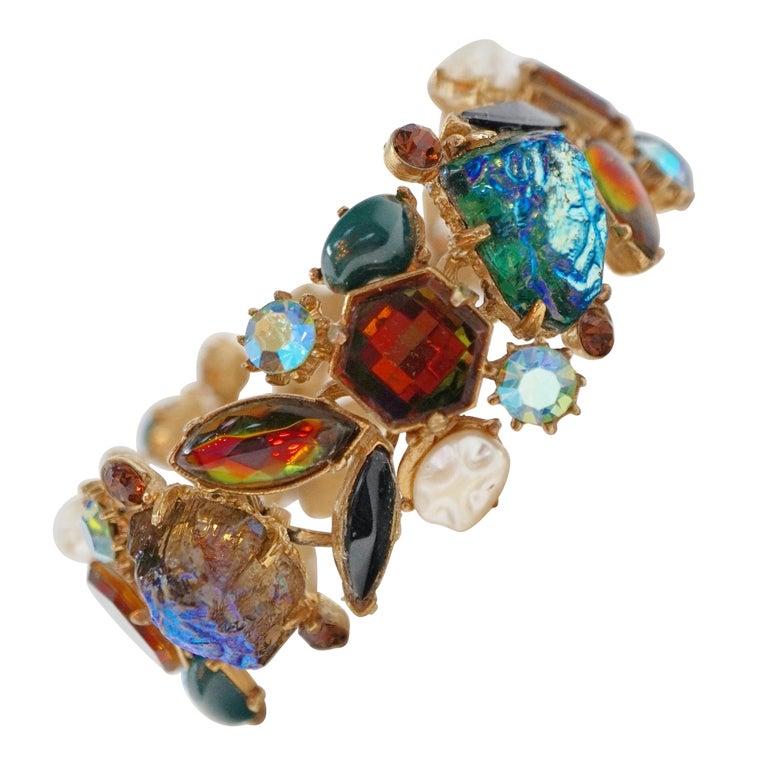 Cabochon Medley Statement Bracelet by Florenza, Signed, circa 1960 For Sale