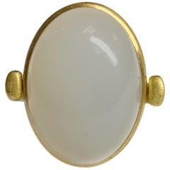 Cabochon Moonstone Flip Ring in 22 Karat Gold, A2 by Arunashi