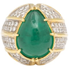 Cabochon Natural Emerald and Diamond Ring 18 Karat Gold