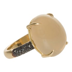 Cabochon Nude Moonstone 18 Karat Gold Cocktail Ring with Pave Diamonds