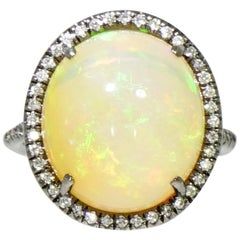 Cabochon Opal and Diamond White Gold Ring