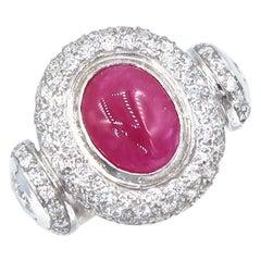Cabochon Oval Ruby Diamond Pavé Convex Curve Round Diamond on Side 18K Gold Ring
