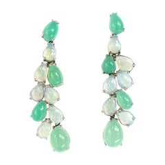 Cabochon Pear Cut Opal and Chrysophrase White Gold Dangle Earrings