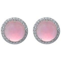 Cabochon Pink Quartz White Gold Diamond Earrings