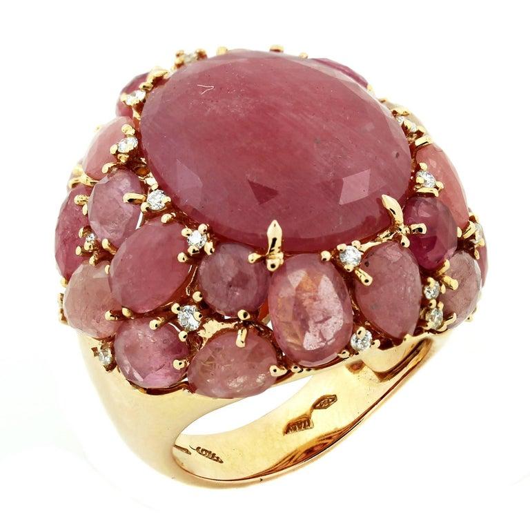 Cabochon Pink Sapphire Gold and Diamond Ring Giovanni Ferraris