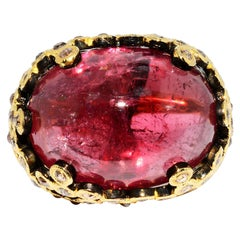 Cabochon Pink Tourmaline and Cognac Rose Cut Diamond Ring 18 Karat Yellow Gold