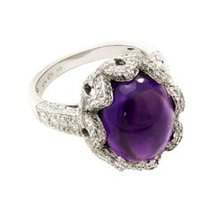 Cabochon Purple Amethyst Cocktail Ring Surrounded by a Crown of White Diamonds