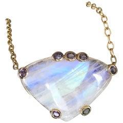Cabochon Rainbow Moonstone Spinel 18 Karat Gold Pendant Necklace