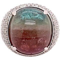 Cabochon Rainbow Paraiba Tourmaline Diamond Domed Ring