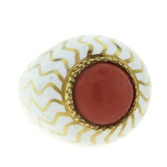 Cabochon Red Coral Cocktail White Enamel Dome Ring in 18 Karat Yellow Gold