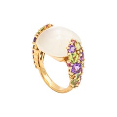 Cabochon Ring Yellow Gold Surmounted by a Peridot Citrine Amethyst Moonstone