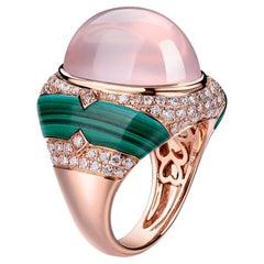 Cabochon Rose Quartz Malachite Diamond Cocktail Ring in 18 Karat Rose Gold