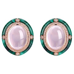 Cabochon Rose Quartz Malachite Diamond Earring in 18 Karat Rose Gold
