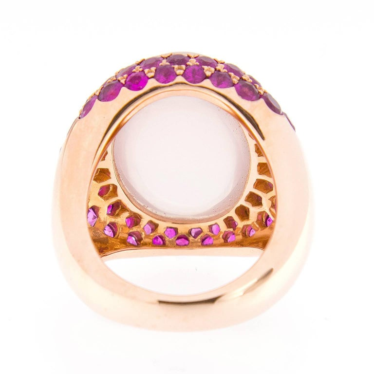 Contemporary Cabochon Rose Quartz, Pink Sapphire Gold Cocktail Ring For Sale