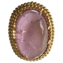 Cabochon Rose Tourmaline Gold Twist Ring