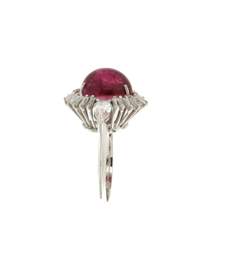 Cabochon Rubelite Gold 18 karat Diamonds Cocktail Ring In New Condition For Sale In Marcianise, IT