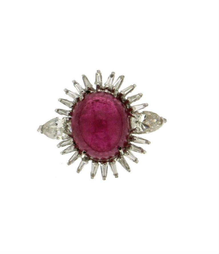 Women's or Men's Cabochon Rubelite Gold 18 karat Diamonds Cocktail Ring For Sale