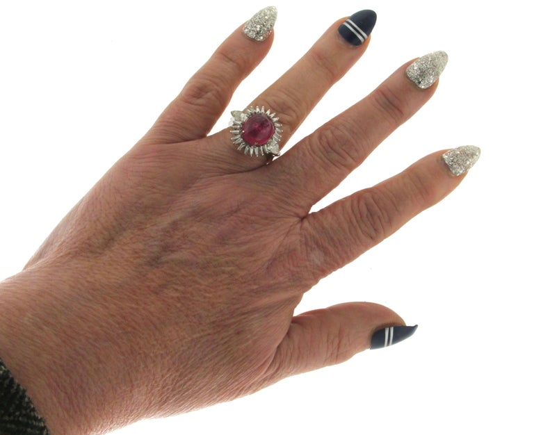 Cabochon Rubelite Gold 18 karat Diamonds Cocktail Ring For Sale 1