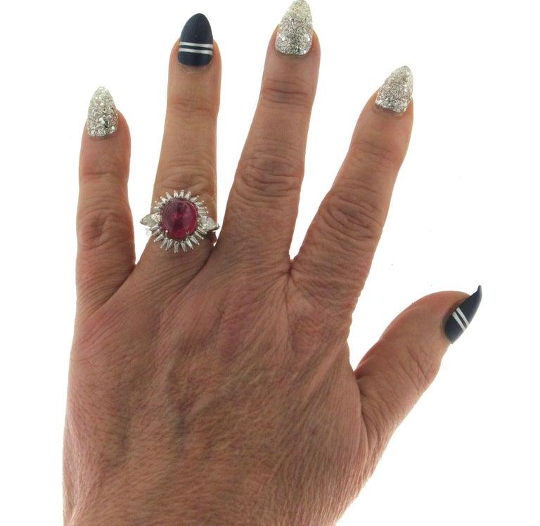 Cabochon Rubelite Gold 18 karat Diamonds Cocktail Ring For Sale 2