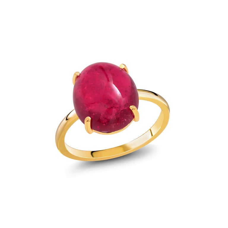 Contemporary Cabochon Rubellite Bezel Raised Dome Yellow Gold Cocktail Ring For Sale