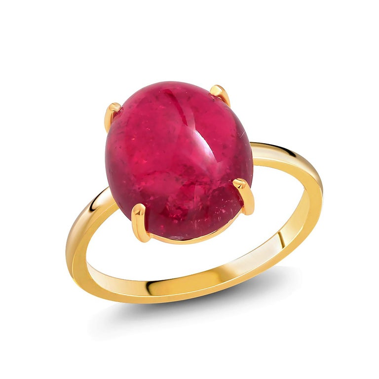 Oval Cut Cabochon Rubellite Bezel Raised Dome Yellow Gold Cocktail Ring For Sale