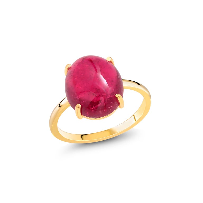 Cabochon Rubellite Bezel Raised Dome Yellow Gold Cocktail Ring In New Condition For Sale In New York, NY