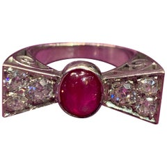 Cabochon Ruby and Diamond Bow Tie Ring