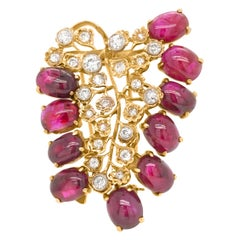 Cabochon Ruby and Diamond Brooch