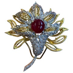 Cabochon Ruby and Diamond Flower Brooch