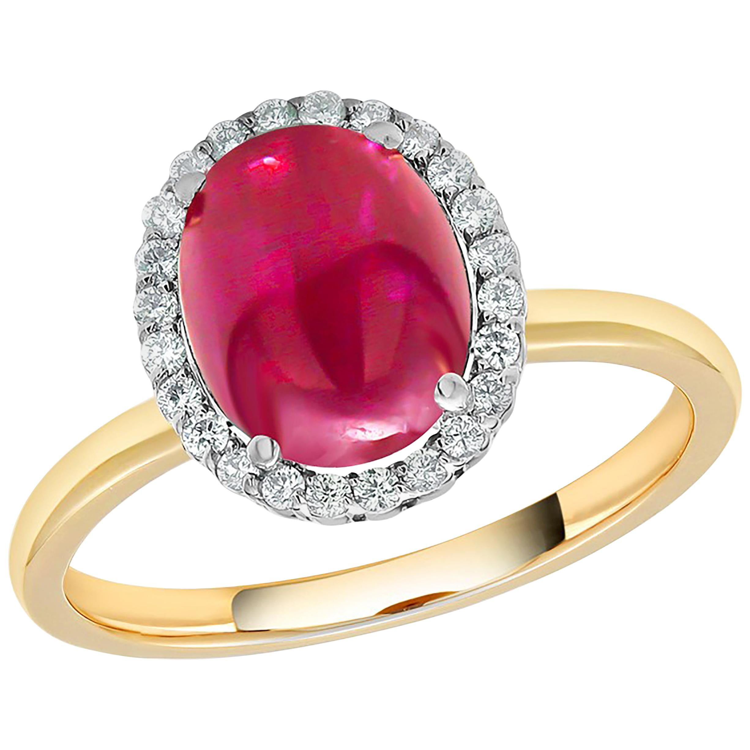 Cabochon Ruby and Diamond Gold Cocktail Ring Weighing 6.26 Carat