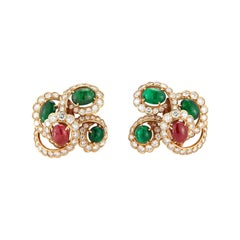 Cabochon Ruby and Emerald Diamond Earrings by M Gerard