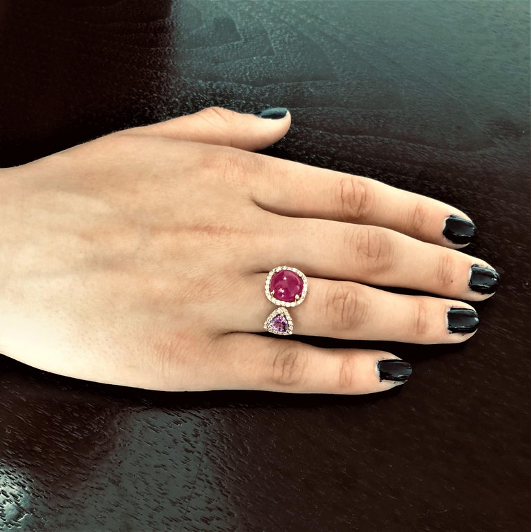Burma Cabochon Ruby Diamond Triangle Pink Sapphire Open Shank Cocktail  Ring For Sale 3