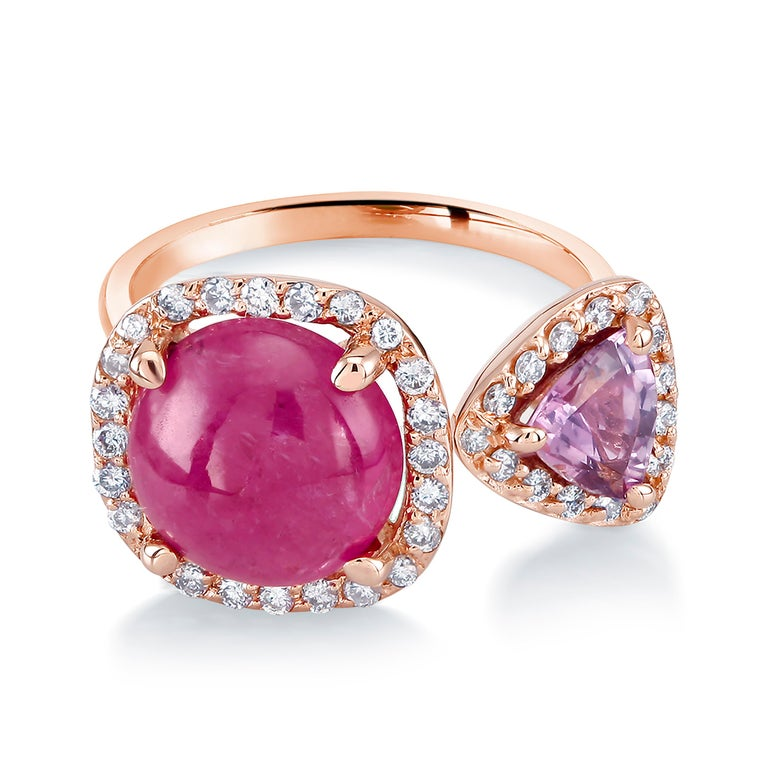 Women's Burma Cabochon Ruby Diamond Triangle Pink Sapphire Open Shank Cocktail  Ring For Sale