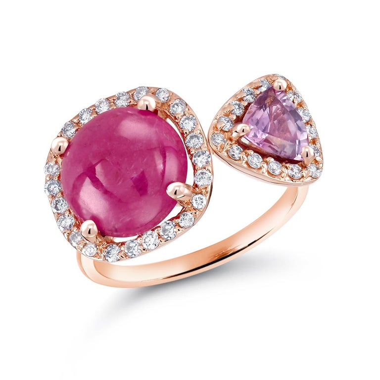 Burma Cabochon Ruby Diamond Triangle Pink Sapphire Open Shank Cocktail  Ring For Sale 1