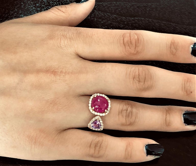 Contemporary Burma Cabochon Ruby Diamond Triangle Pink Sapphire Open Shank Cocktail  Ring For Sale