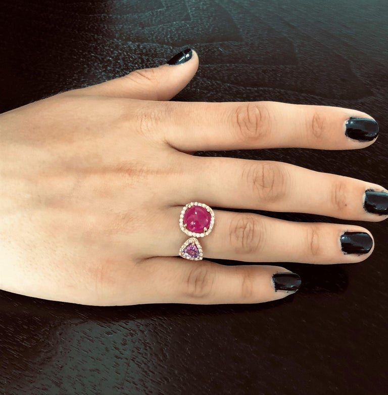 Round Cut Burma Cabochon Ruby Diamond Triangle Pink Sapphire Open Shank Cocktail  Ring For Sale