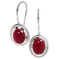 Cabochon Ruby Bezel Set Drop Hoop Silver Earrings