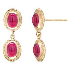 Cabochon Ruby Bezel Set Yellow Gold Rope Design Double Tier Drop Earrings
