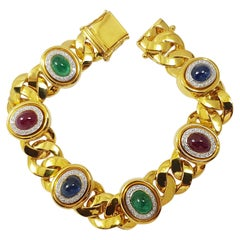 Cabochon Ruby, Blue Sapphire, Emerald with Diamond Bracelet Set in 18 Karat Gold