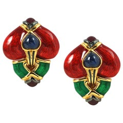 Cabochon Ruby, Cabochon Blue Sapphire Earrings Set in 18 Karat Gold Settings