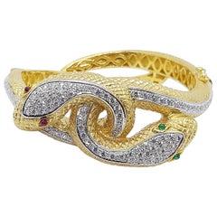 Cabochon Ruby, Cabochon Emerald and Diamond Snake Bangle Set in 18 Karat Gold