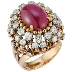 Cabochon Ruby & Diamond Cocktail Ring