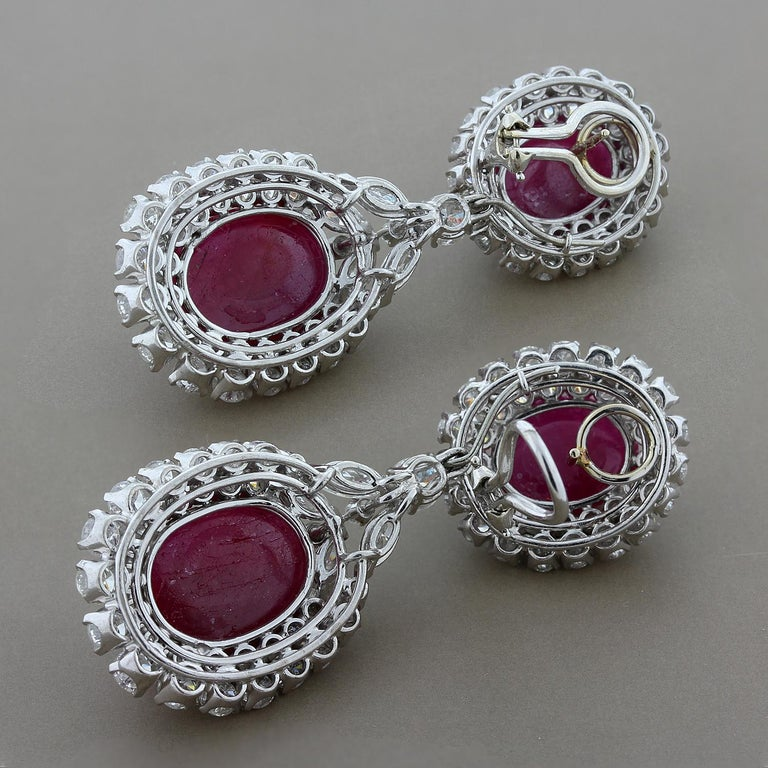 Cabochon Ruby Diamond Gold Detachable Drop Earrings In New Condition For Sale In Beverly Hills, CA