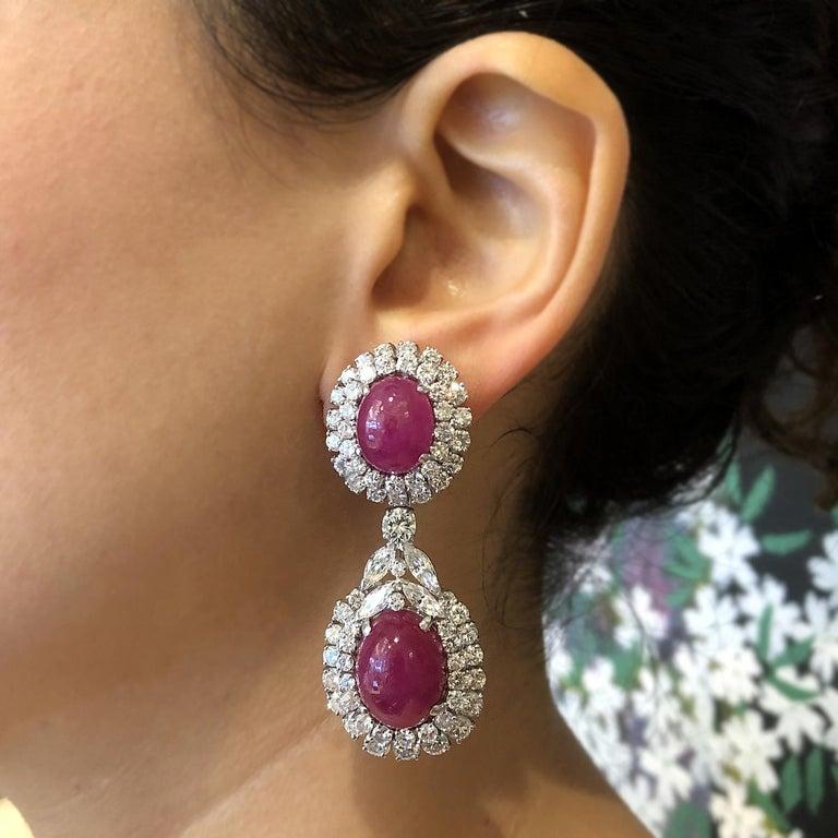Women's Cabochon Ruby Diamond Gold Detachable Drop Earrings For Sale