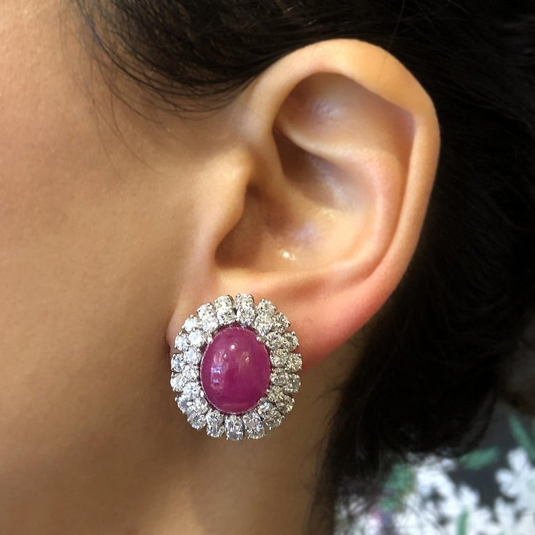 Cabochon Ruby Diamond Gold Detachable Drop Earrings For Sale 1